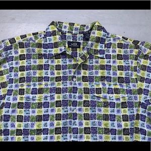 Men's short sleeve 100% cotton tribal print shirt